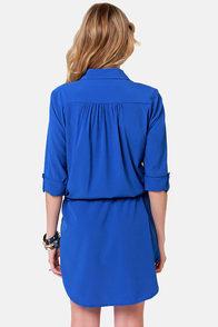 Royal blue shirt dress