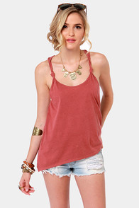 RVCA White Shadow Dusty Red Tank Top at Lulus.com!