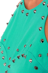 Aryn K Stud Zone Studded Teal Midi Dress at Lulus.com!