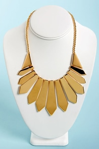 Lucky Picket Gold Statement Necklace at Lulus.com!
