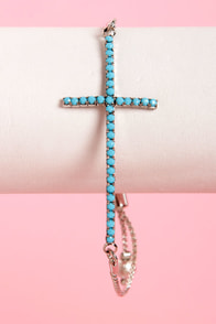 Southern Cross Silver and Turquoise Cross Bracelet