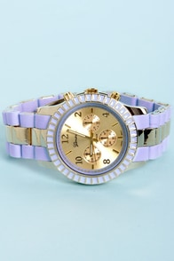 On Your Side Lavender and Gold Watch at Lulus.com!