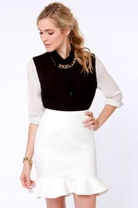 Aryn K Milk and Honeycomb Ivory Trumpet Skirt at Lulus.com!