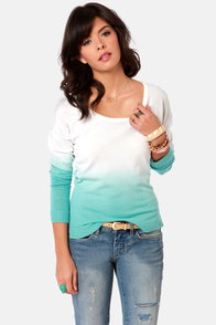Olive and Oak Tailor Fade Aqua Blue Ombre Sweater at Lulus.com!