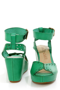 Sixtyseven Vivian Green Perforated Peep Toe Wedge Sandals at Lulus.com!