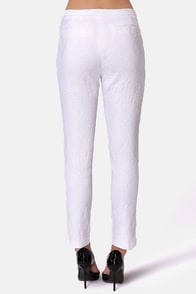Get Your Kicks White Jacquard Pants at Lulus.com!