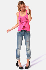 Billabong Skeletoning Hot Pink Tank Top at Lulus.com!