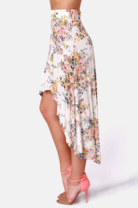 Billabong Wild Roadz Floral Print High-Low Skirt at Lulus.com!