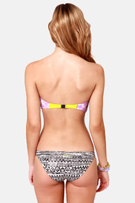 Insight Shima Black and Lavender Print Bustier Bikini at Lulus.com!