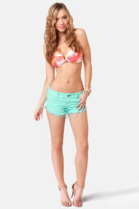 Insight Why Dye Tie-Dye Coral Bandeau Bikini at Lulus.com!