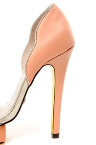 Blonde Ambition Roberta Gold and Salmon Scalloped Platform Heels at Lulus.com!