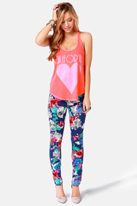 Billabong My Kind of Peace Neon Coral Print Tank Top at Lulus.com!