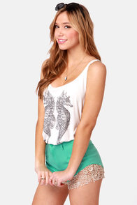 Billabong Horse Around In the Seahorse Print Tank Top at Lulus.com!