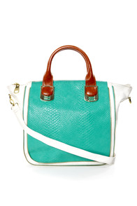 Steve Madden BGambet Turquoise and White Tote