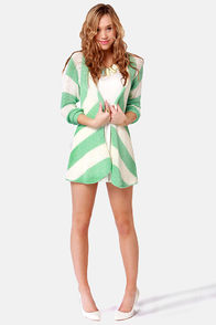 Seaside the Point Ivory and Mint Striped Sweater at Lulus.com!