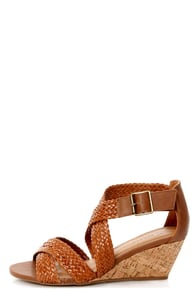 City Classified Evelyn Tan Strappy Braided Wedge Sandals