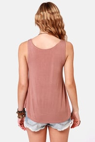 Rhythm Happy Singlet Latte Brown Print Tank Top at Lulus.com!