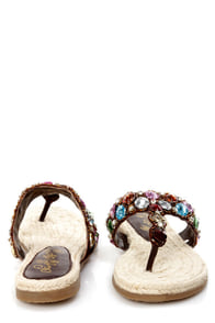 Naughty Monkey Free Fall Multi Bejeweled Thong Sandals at Lulus.com!
