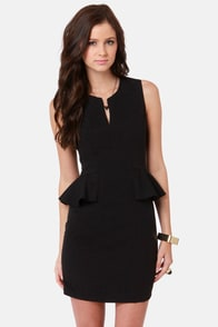 Morning, Swoon, and Night Black Peplum Dress