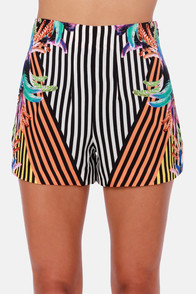 The Show Must Go On Silk Print Shorts at Lulus.com!
