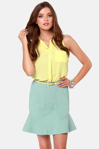 Pressed Flowers Light Blue Trumpet Skirt at Lulus.com!