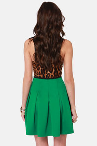 Mystic Pleats-a Green Pleated Skirt at Lulus.com!