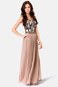 Easy Pickings Pleated Taupe Maxi Skirt at Lulus.com!