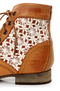 Steve Madden Thundr-C Cognac Multi Crocheted Lace-Up Ankle Boots at Lulus.com!