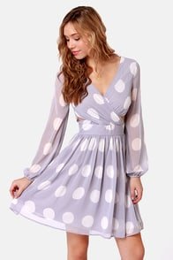 Polka Latte Dusty Lavender Polka Dot Dress at Lulus.com!