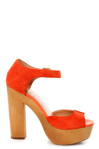 Kelsi Dagger Wynette Orange Suede Wooden Platform Sandals at Lulus.com!