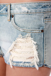 Obey Leather and Lace Destroyed Jean Shorts at Lulus.com!