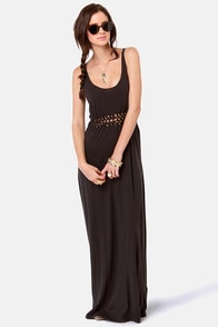 Obey Bristol Braided Washed Black Maxi Dress