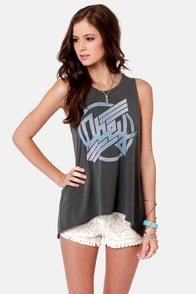 Obey To Rock and Not Roll Grey Print Muscle Tee at Lulus.com!