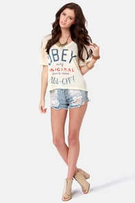 Obey All-City Cream Print Crop Top at Lulus.com!