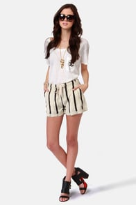 Obey Montreux Black and Beige Striped Shorts at Lulus.com!