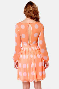 Polka Latte Peach Polka Dot Dress at Lulus.com!
