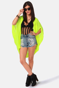 O'Neill Leoni Neon Yellow Cape Top at Lulus.com!