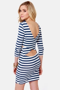 Billabong Dance With Me Blue and White Striped Dress