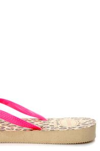 Havaianas Slim Sand Grey Pink and Leopard Print Flip Flops at Lulus.com!