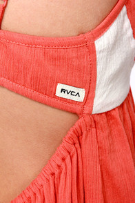 RVCA High Priestess Coral High-Low Dress at Lulus.com!