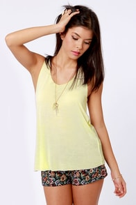 RVCA Forage Pale Yellow Tank Top at Lulus.com!