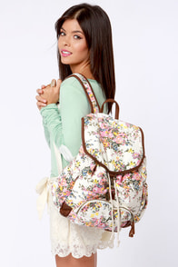 Billabong For Keeps White Floral Print Backpack at Lulus.com!