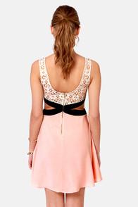 Embrace the Dark Sides Cutout Beige and Peach Dress at Lulus.com!