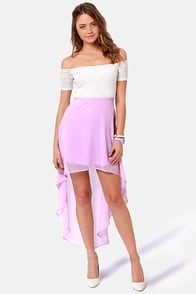 Kiss on the Chic Lavender Off-the-Shoulder Dress at Lulus.com!