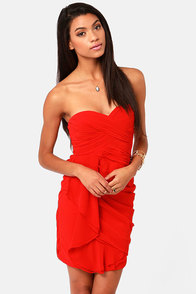 Midnight Masquerade Strapless Red Dress at Lulus.com!