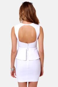 Portrait of a Lady White Peplum Dress at Lulus.com!