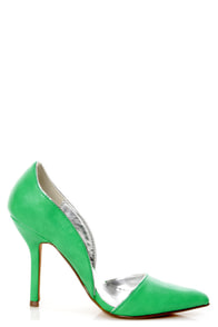 C Label Luxe 4 Green and Silver D'Orsay Pointed Pumps at Lulus.com!
