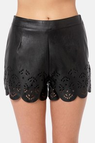 Laser Cut-oure Black Shorts at Lulus.com!