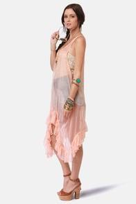 Gypsy Junkies Poppy Sheer Pink Silk Dress at Lulus.com!