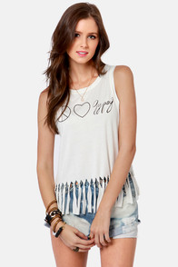 Gypsy Junkies Peace, Love & Gypsy Fringe Tank at Lulus.com!